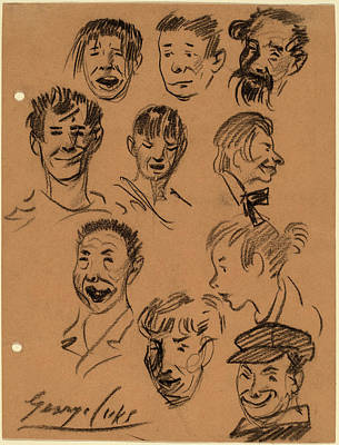 Benjamin Drawing - George Benjamin Luks, Ten Heads, American by Quint Lox