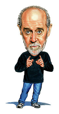 Cartoons Tees - George Carlin by Art