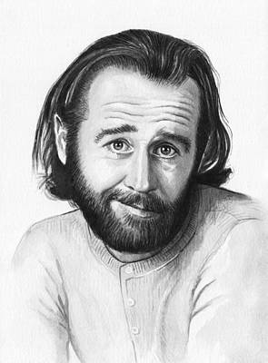 Black And White Art Painting - George Carlin Portrait by Olga Shvartsur