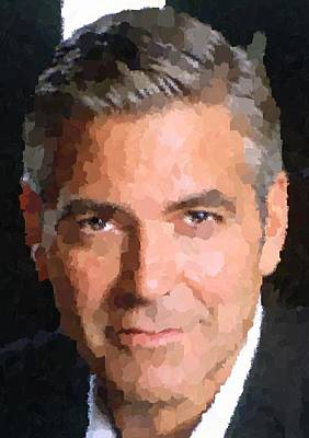 Portret Painting - George Clooney Portrait by Samuel Majcen
