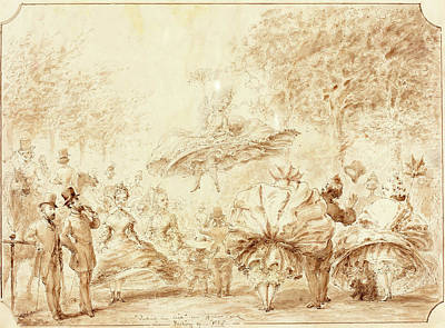 Hyde Park Drawing - George Cruikshank British, 1792 - 1878 by Quint Lox
