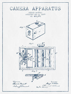Camera Digital Art - George Eastman Camera Apparatus Patent From 1889 - Blue Ink by Aged Pixel