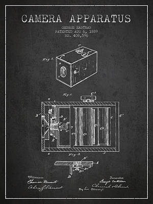 George Eastman Camera Apparatus Patent From 1889 - Dark Art Print