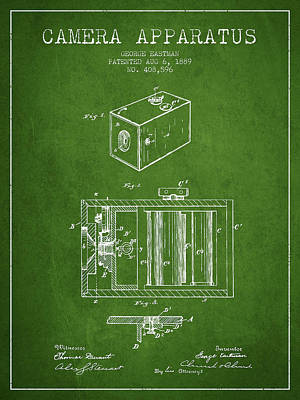Camera Digital Art - George Eastman Camera Apparatus Patent From 1889 - Green by Aged Pixel