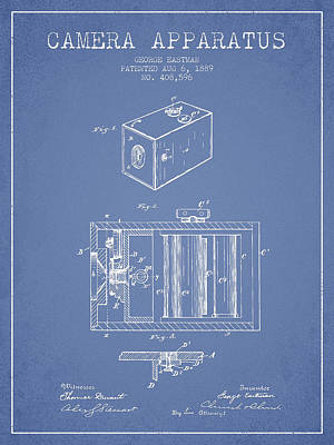 Vintage Camera Digital Art - George Eastman Camera Apparatus Patent From 1889 - Light Blue by Aged Pixel