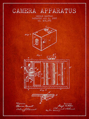 Camera Digital Art - George Eastman Camera Apparatus Patent From 1889 - Red by Aged Pixel
