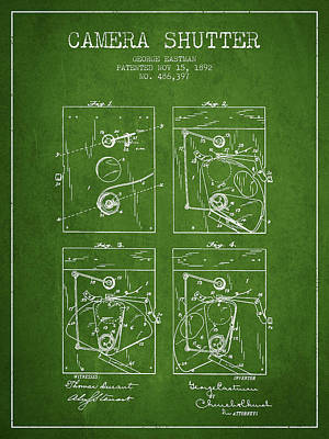 Camera Digital Art - George Eastman Camera Shutter Patent From 1892 - Green by Aged Pixel