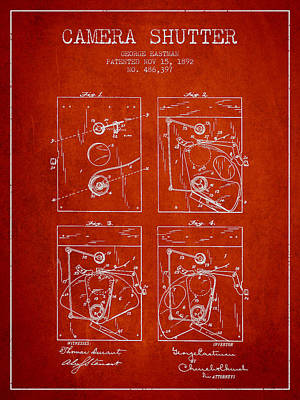 Camera Digital Art - George Eastman Camera Shutter Patent From 1892 - Red by Aged Pixel