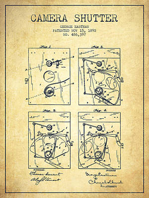 Shutters Digital Art - George Eastman Camera Shutter Patent From 1892 - Vintage by Aged Pixel