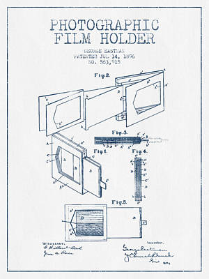 Camera Digital Art - George Eastman Film Holder Patent From 1896 - Blue Ink by Aged Pixel