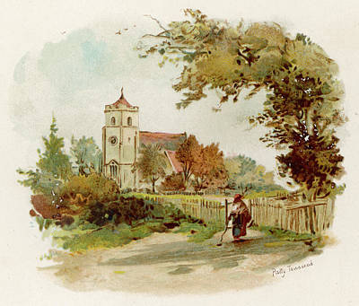 Fence Drawing - George Eliot Chilvers Coton Church by Mary Evans Picture Library
