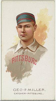 Baseball Cards Drawing - George F. Miller, Baseball Player by Allen & Ginter