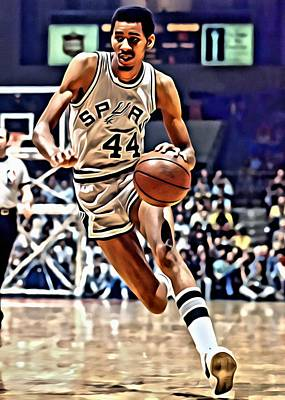 Basketball Painting - George Gervin by Florian Rodarte