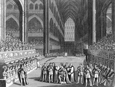 Westminster Abbey Drawing - George Iv Crowned In Westminster Abbey by Mary Evans Picture Library