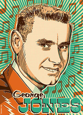 Nashville Digital Art - George Jones Pop Art by Jim Zahniser