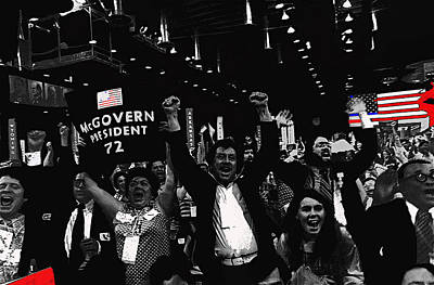 Vintage College Subway Signs Color - George McGovern supporters Democratic Natl Convention Miami Beach Florida 1972 color added by David Lee Guss