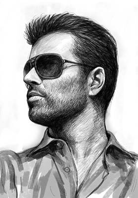 Michael Drawing - George Michael Art Drawing Sketch Portrait by Kim Wang