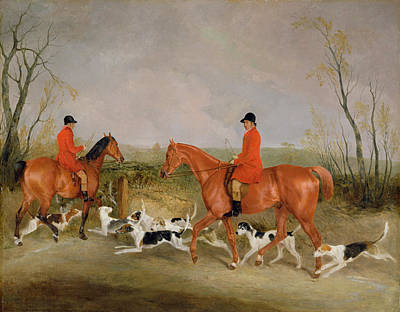 Melton Painting - George Mountford, Huntsman To The Quorn, And W. Derry, Whipper-in, At John Ogaunts Gorse, Nr Melton by Richard Barrett Davis