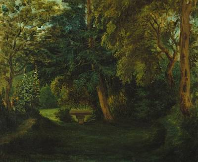 George Sand's Garden At Nohant Print by Eugene Delacroix