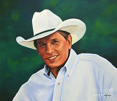 Boxed Painting - George Strait by Paul Meijering