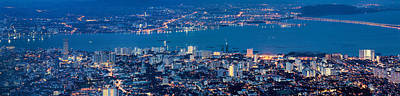 George Town Penang Malaysia Aerial View At Blue Hour Art Print