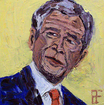 Barack Obama Oil Painting - George Walker Bush by Allen Forrest