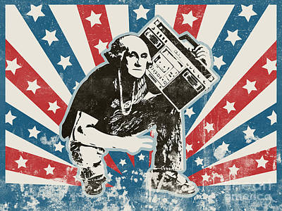 Banksy Digital Art - George Washington - Boombox by Pixel Chimp