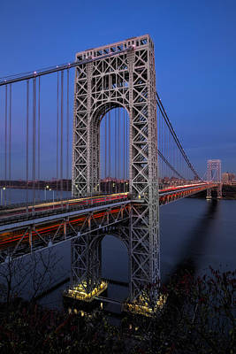 Politicians Royalty-Free and Rights-Managed Images - George Washington Bridge At Twilight by Susan Candelario