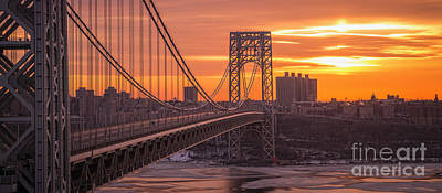 Politicians Royalty-Free and Rights-Managed Images - George Washington Bridge Frame Work  by Michael Ver Sprill