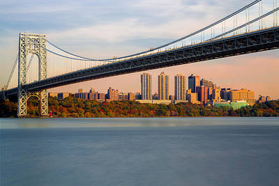 George Washington Bridge In Autumn Art Print by Susan Candelario
