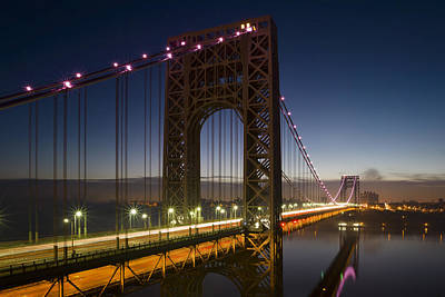Politicians Royalty-Free and Rights-Managed Images - George Washington Bridge in Pink by Eduard Moldoveanu