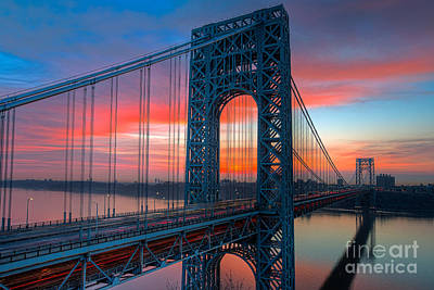 Photograph - George Washington Bridge Sunrise I by Clarence Holmes