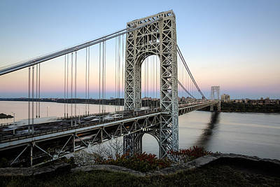 Fall Photograph - George Washington Bridge Sunset by Susan Candelario