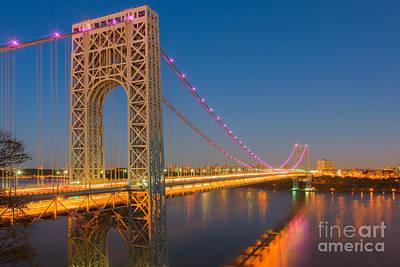 Photograph - George Washington Bridge Twilight I by Clarence Holmes