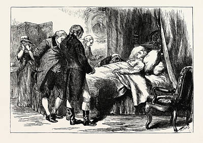 George Washington Drawing - George Washington On His Deathbed, United States Of America by American School