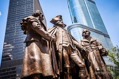 Politicians Royalty-Free and Rights-Managed Images - George Washington-Robert Morris-Hyam Salomon Memorial Statue by Paul Velgos
