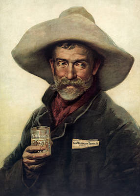 Cowboy Photograph - George Wiedemann's Brewing Company C. 1900 by Daniel Hagerman