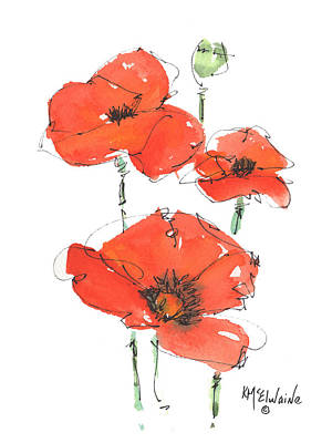 Painting - Georgetown Texas The Red Poppy Capital by Kathleen McElwaine