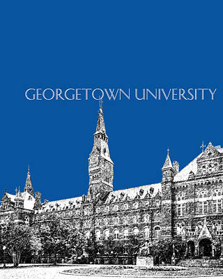 Pen Digital Art - Georgetown University - Royal Blue by DB Artist