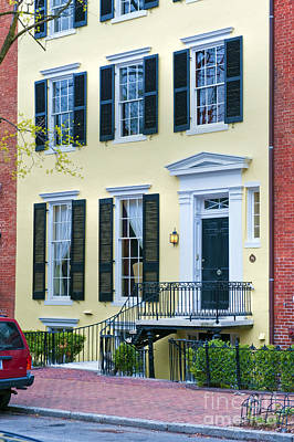 Photograph - Georgetown Washington D.c. Yellow Brownstone by David Zanzinger