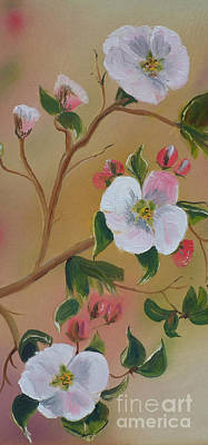 Painting - Georgia Flowers - Apple Blossoms- Stretched by Jan Dappen
