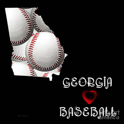 Digital Art - Georgia Loves Baseball by Andee Design