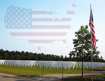 Photograph - Georgia National Cemetery W/map by Pete Trenholm