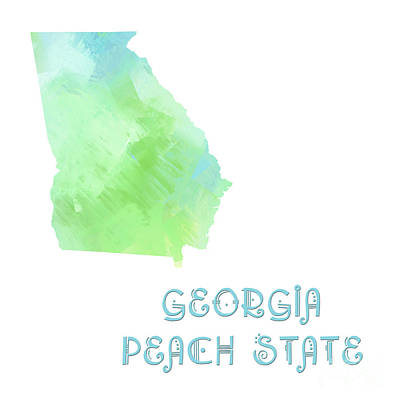 Georgia - Peach State - Map - State Phrase - Geology Art Print by Andee Design