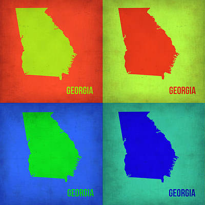 Modern Poster Painting - Georgia Pop Art Map 1 by Naxart Studio