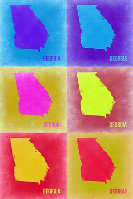 Modern Poster Painting - Georgia Pop Art Map 2 by Naxart Studio