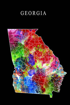 County Map Digital Art - Georgia State by Daniel Hagerman