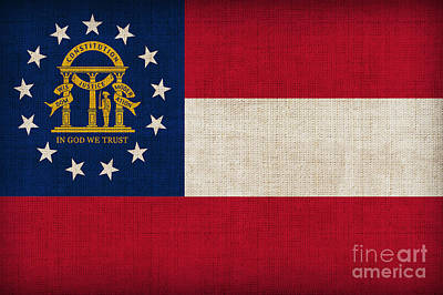 Painting - Georgia State Flag by Pixel Chimp