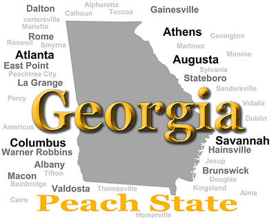 Photograph - Georgia State Pride Map Silhouette  by Keith Webber Jr