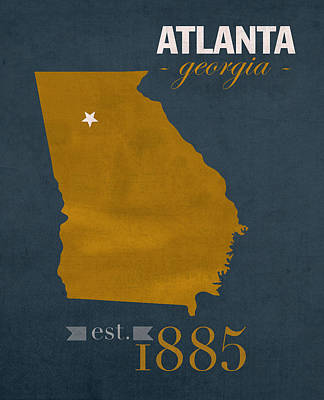 Georgia Tech University Yellow Jackets Atlanta College Town State Map Poster Series No 043 Art Print